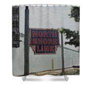 North Shore Line Signage Digital Art Shower Curtain