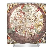 Northern Boreal Hemisphere From The Celestial Atlas Shower Curtain by Pieter Schenk
