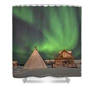 Northern Lights Above Village Shower Curtain