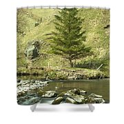 Northumberland, England A River Flowing Shower Curtain by John Short