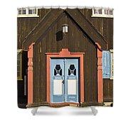 Norwegian Wooden Facade Shower Curtain