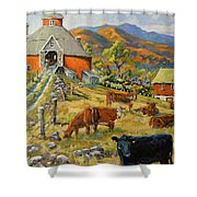 Nostalgia Cows Painting By Prankearts Shower Curtain