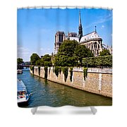 Notre Dame Cathedral Along The Seine River Shower Curtain