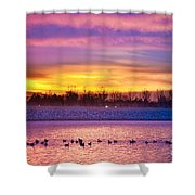 November Lagerman Reservoir Sunrise  Shower Curtain by James BO  Insogna