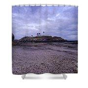 Nubble Lighthouse At Dusk Maine Usa Shower Curtain