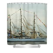 Nve Cisne Branco Passing By Fort Mchenry Shower Curtain