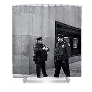 Ny Beat Cops Holding The Banana Republic Shower Curtain
