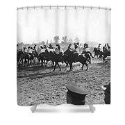 Ny Police Fencing On Horseback Shower Curtain