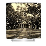 Oak Alley In Black And White Shower Curtain