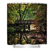 Oak Bridge In Fall Shower Curtain