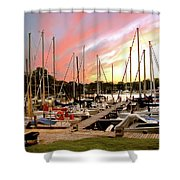 Oak Pt Harbor At Sunset Shower Curtain