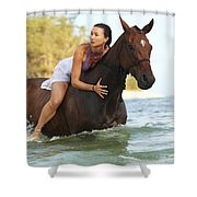 Ocean Horseback Rider Shower Curtain