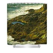 Ocean Pounded Rock  Shower Curtain