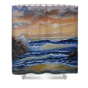Ocean Study In Blue Shower Curtain