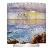 Ocean Waves And Sailing Ship Shower Curtain