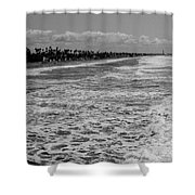 Oceanside In Black And White Shower Curtain