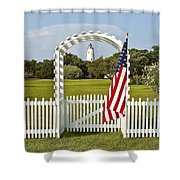 Ocracoke Lighthouse July 4th Shower Curtain by Bill Swindaman