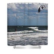 October Beach Kite Surfer Shower Curtain by Susanne Van Hulst