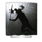 Octopus And Diver Shower Curtain