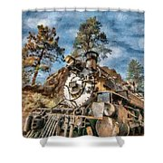 Of Mountain And Machine Shower Curtain