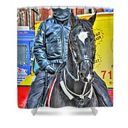 Officer And Black Horse Shower Curtain