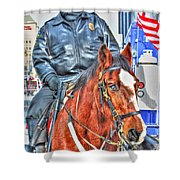 Officer On Brown Horse Shower Curtain