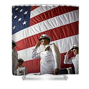 Officers Render Honors During A Change Shower Curtain