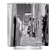 Oia Staircase Bw Shower Curtain