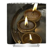 Oil Lamps Kept In A Plate As Part Of Diwali Celebrations Shower Curtain