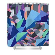 Blue Barge Through The Purple City Shower Curtain
