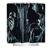 Oilmen Covered In Mud Pull Up A Drill Shower Curtain