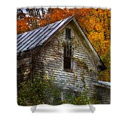 Old Abandoned House In Fall Shower Curtain