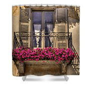 Old Balcony With Red Flowers Shower Curtain by Mats Silvan