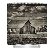 Old Barn After The Storm Black And White Shower Curtain