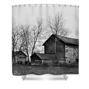 Old Barn In Monochrome Shower Curtain