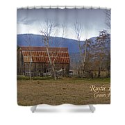 Old Barn In Southern Oregon With Text Shower Curtain