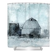 Old Barn In Winter Snow Shower Curtain