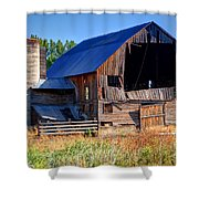 Old Barn With Concrete Grain Silo - Utah Shower Curtain