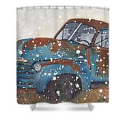 Old Blue Chevy Winter Storm Shower Curtain
