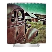 Old Car And Ghost Town Shower Curtain