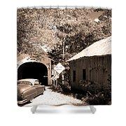 Old Car Older Barn Oldest Bridge Shower Curtain