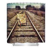 Old Chair On Railroad Tracks Shower Curtain