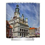 Old City Hall Clock Tower - Posnan Poland Shower Curtain