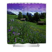 Old Couple By Mountainside Cottages Shower Curtain