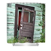 Old Door On Rustic Alaska Cabin Shower Curtain