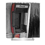 Old Empty Phone Booth Shower Curtain