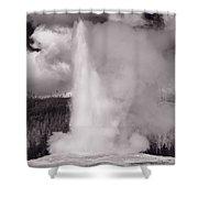 Old Faithful Yellowstone Bw Shower Curtain