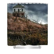 Old Farmhouse With Stormy Sky Shower Curtain