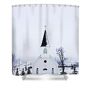 Old Fashioned Steeple Church In Winter Shower Curtain