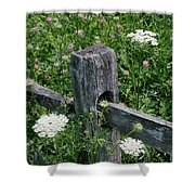 Old Fence And Wildflowers Shower Curtain